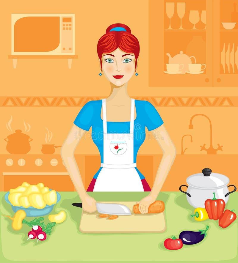 Le femme dans la cuisine illustration de vecteur