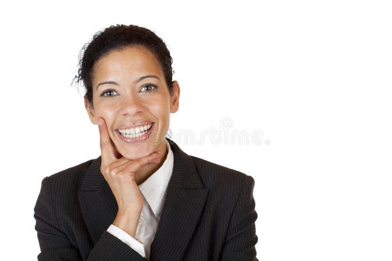 Le femme plein d'assurance d'affaires sourit heureux photos libres de droits