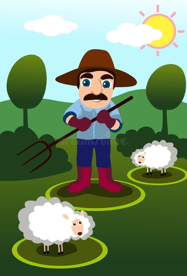 Le fermier dans le Dell illustration de vecteur