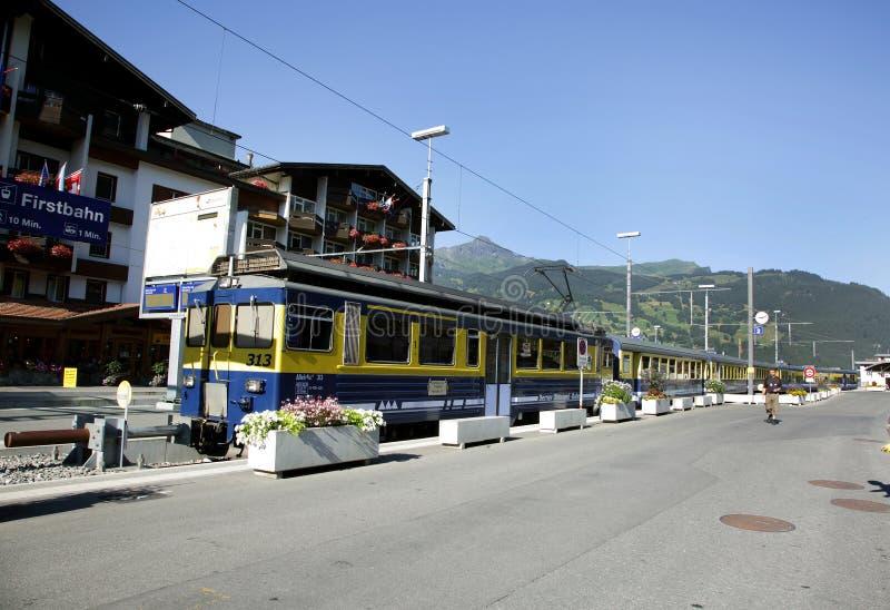 Le ferrovie a scartamento ridotto della montagna di Bernese Oberland immagini stock libere da diritti