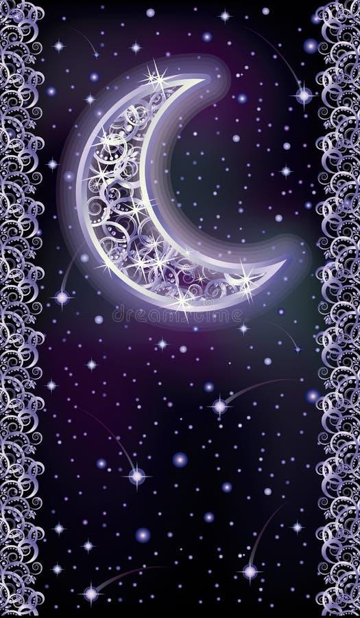 Le feste cardano con la luna d'argento, vettore illustrazione di stock