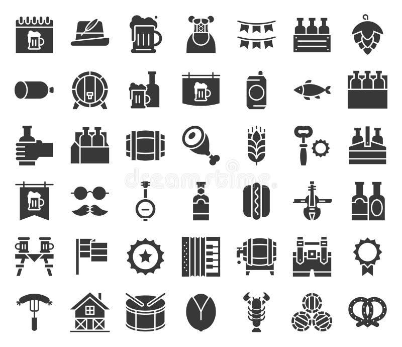 Le festival de bière et d'octobre a rapporté l'icône, vecteur de conception de glyph illustration de vecteur
