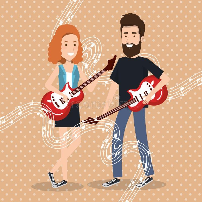 Le festival de musique vivent avec des couples jouant des guitares d'électricités illustration libre de droits