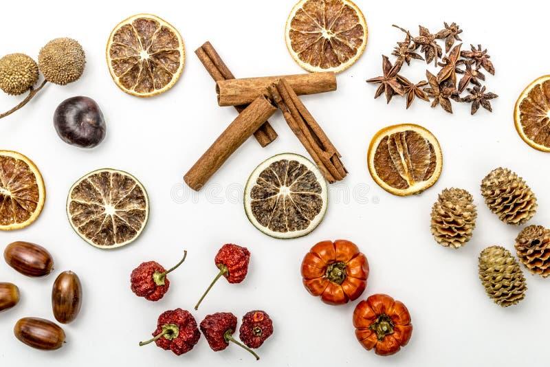Le fette di arance secche, cannella, hanno asciugato le fragole, le ghiande, il fiore dell'anice, le pigne e le zucche fotografie stock libere da diritti