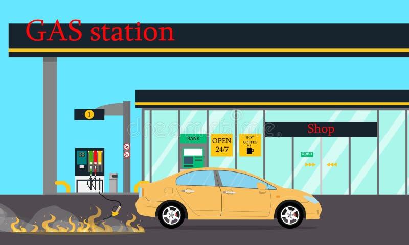 Le feu à la station service Illustration de vecteur photographie stock libre de droits