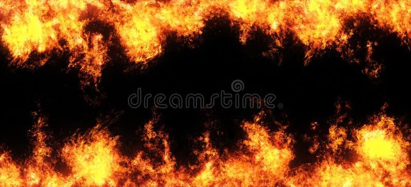 Le feu abstrait de recouvrement flambe sur un fond noir photo stock