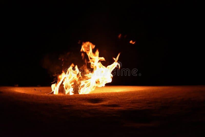 Le feu brûlant en hiver sur la neige et la nuit feu image libre de droits