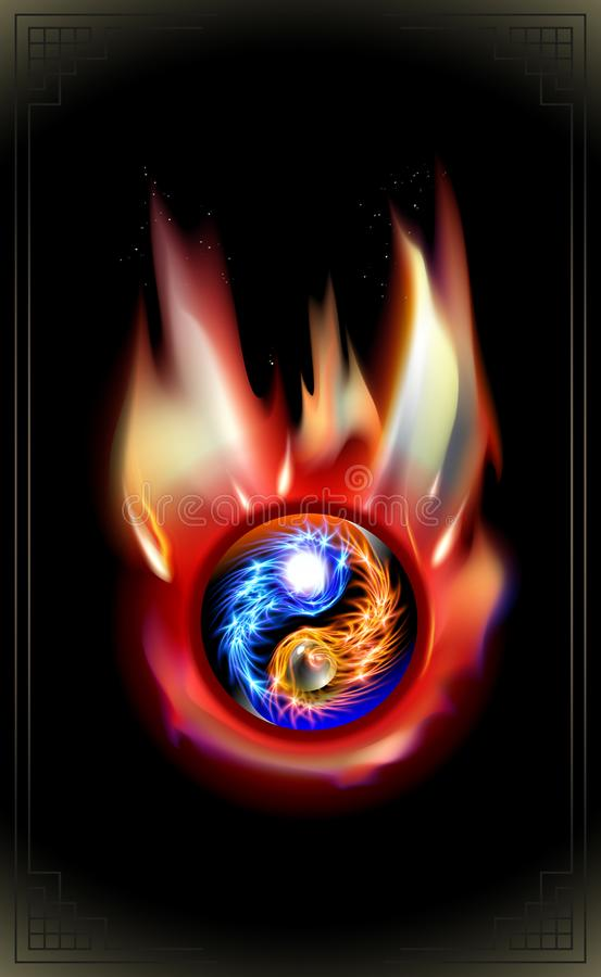 Le feu brûlant, rougeoyant concept cosmique bleu et rouge Yin et mandala de Yang Relaxation spirituelle de la chaleur ardente Con photographie stock