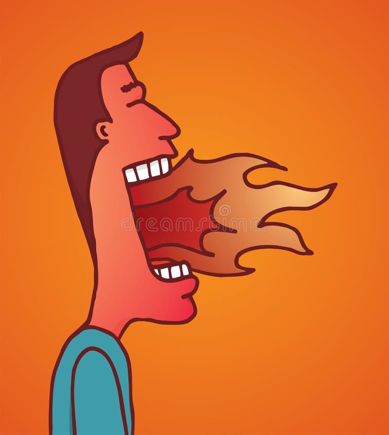 Le feu brûlant sur la bouche de l'homme illustration stock