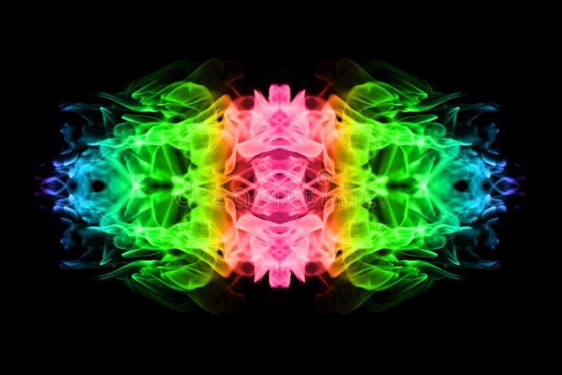 Le feu coloré de texture abstraite flambe sur le fond noir illustration stock