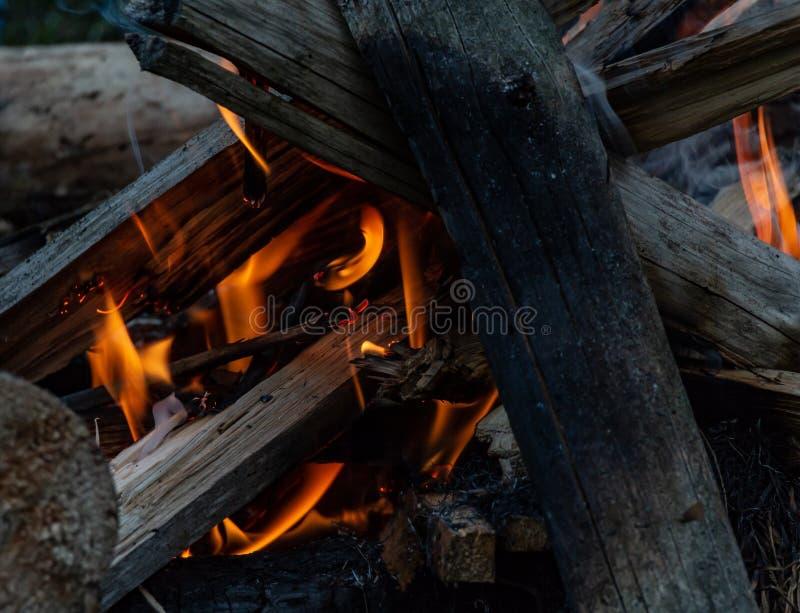Le feu d'un feu en plein air images libres de droits