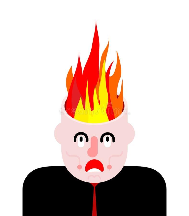 Le feu dans la tête Brûlure de cerveaux Ouvrez les buts illustration libre de droits