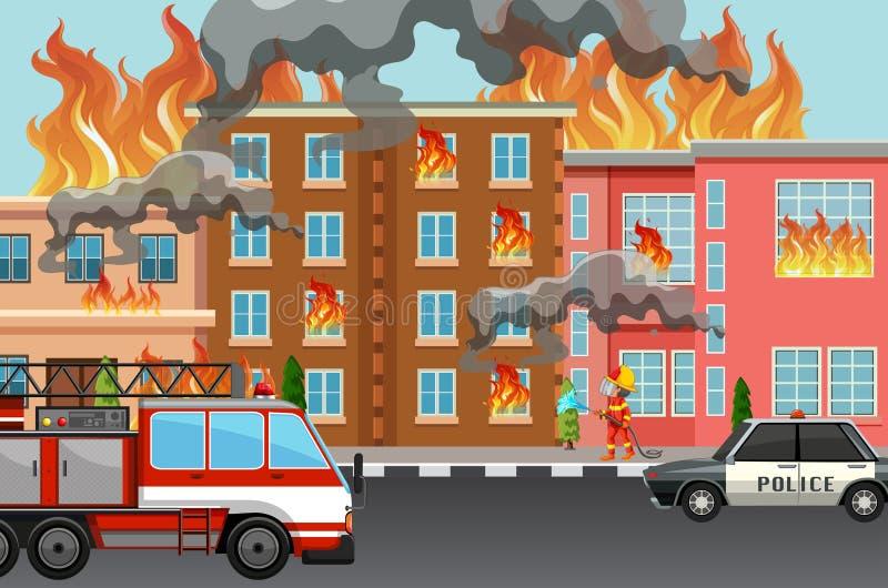 Le feu dans la ville illustration stock