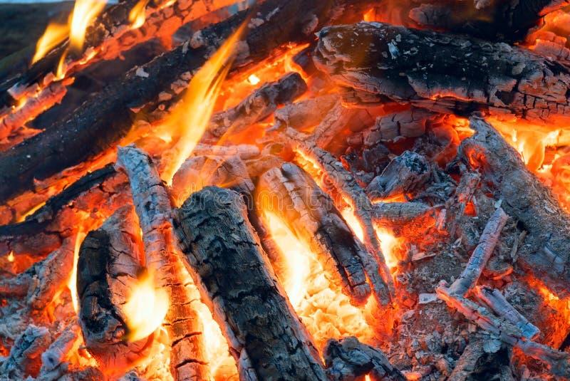Le feu dans les bois d'hiver Charbons lumineux photographie stock libre de droits
