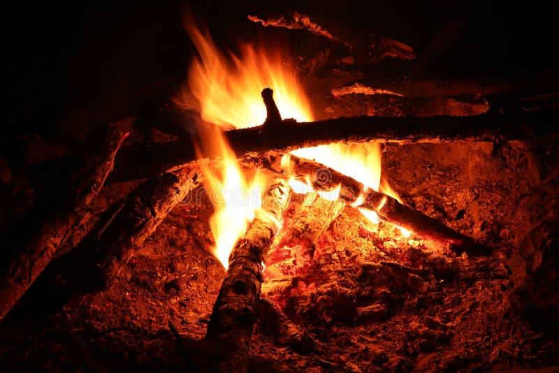 Le feu de camp - fie et flammes photographie stock libre de droits