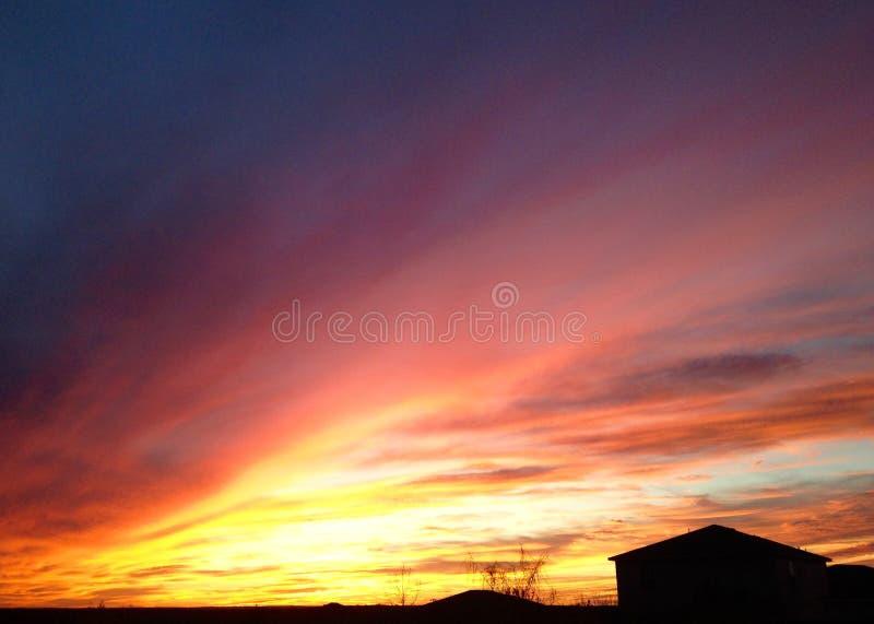 Le feu de coucher du soleil en Texas Skies photos stock