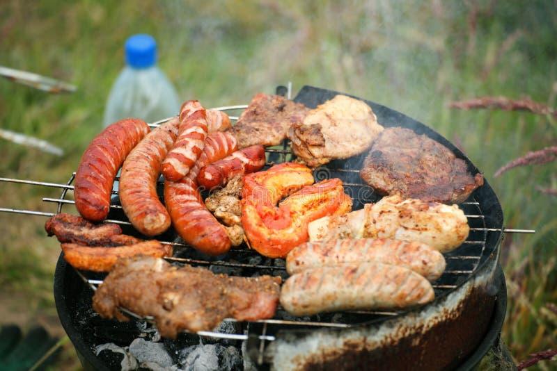 Le feu de feu de camp de feu flambe grillant le bifteck sur le BBQ photo libre de droits