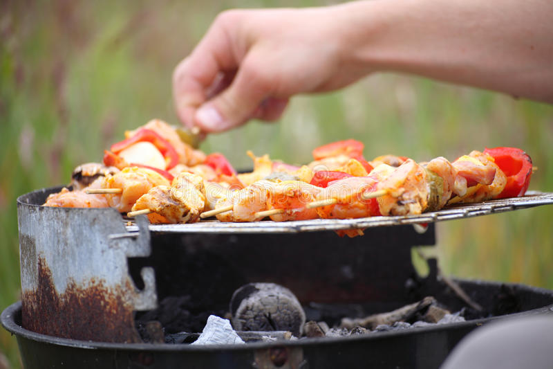 Le feu de feu de camp de feu flambe grillant le bifteck sur le BBQ images libres de droits