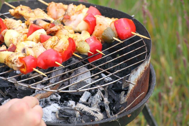 Le feu de feu de camp de feu flambe grillant le bifteck sur le BBQ images stock