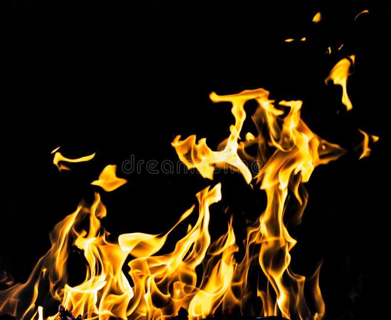 Le feu de flamme sur le fond noir photos libres de droits