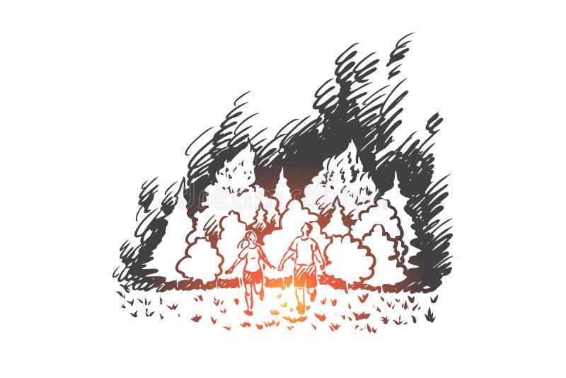 Le feu de forêt, danger, flamme, forêt, concept de catastrophe Vecteur d'isolement tiré par la main illustration stock