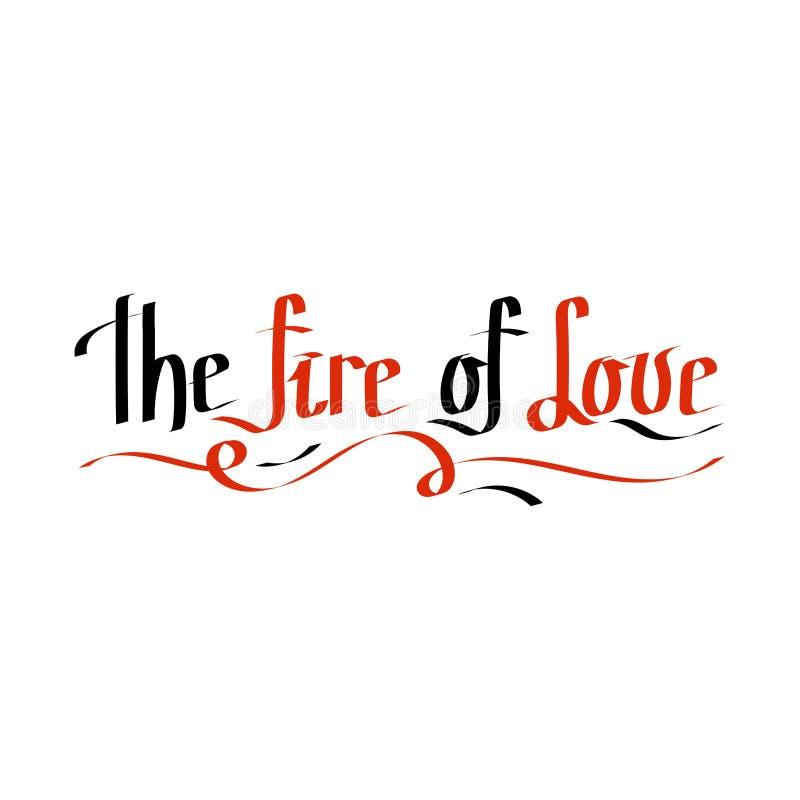 Le feu de l'amour Expressions de calligraphie de Saint-Valentin Cartes romantiques tirées par la main illustration de vecteur