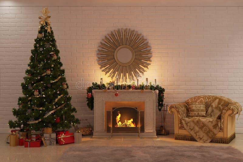 Le feu de Noël près d'un arbre de Noël avec des cadeaux et un fauteuil confortable photos stock