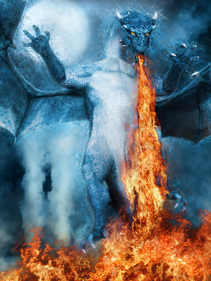 Le feu de respiration de dragon illustration de vecteur