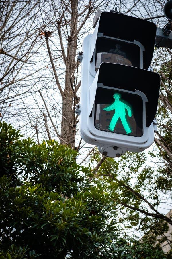 Le feu de signalisation, promenade verte signent à Tokyo, Japon image stock