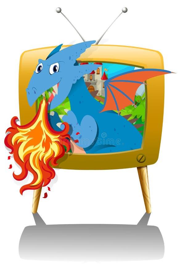 Le feu de soufflement de dragon à la TV illustration stock