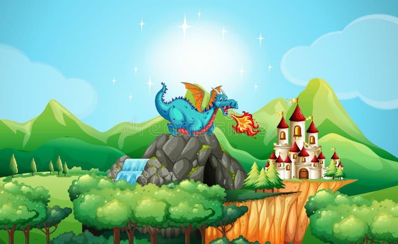 Le feu de soufflement de dragon au-dessus du château illustration libre de droits