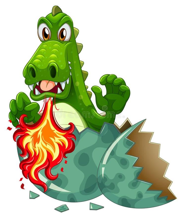 Le feu de soufflement de dragon dans la coquille d'oeuf illustration libre de droits