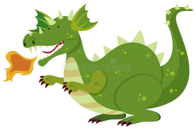 Le feu de soufflement de dragon vert illustration libre de droits