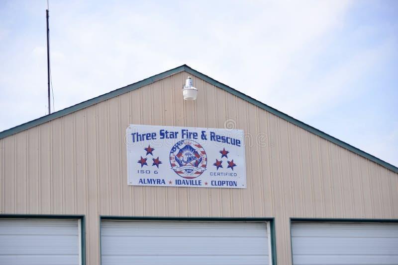 Le feu de trois étoiles et signe de délivrance, Brighton, TN photos libres de droits