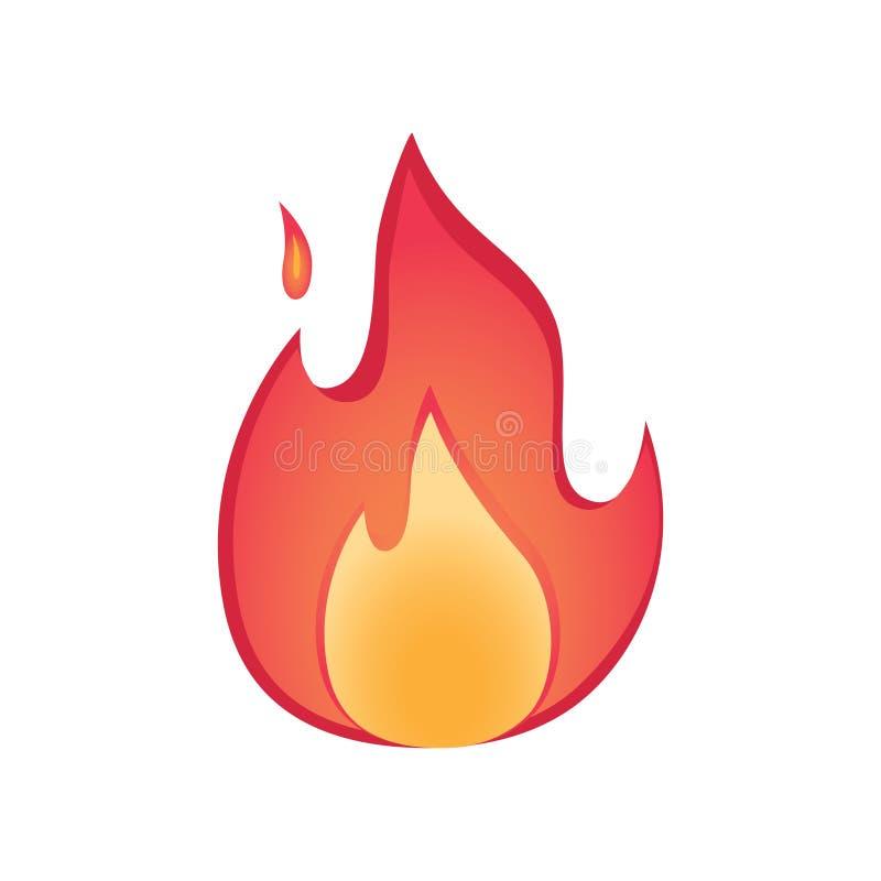 Le feu de vecteur flambe l'illustration de signe Le concept chaud et confortable avec le firepalce a isolé l'icône du feu Brûlure illustration libre de droits