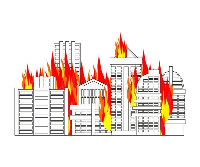 Le feu de ville ville sur des flammes Brûlure de bâtiments illustration libre de droits