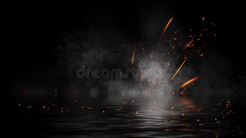 Le feu embouche des particules avec des recouvrements de texture de fumée Effet de la combustion sur la réflexion de l'eau Élémen photos libres de droits