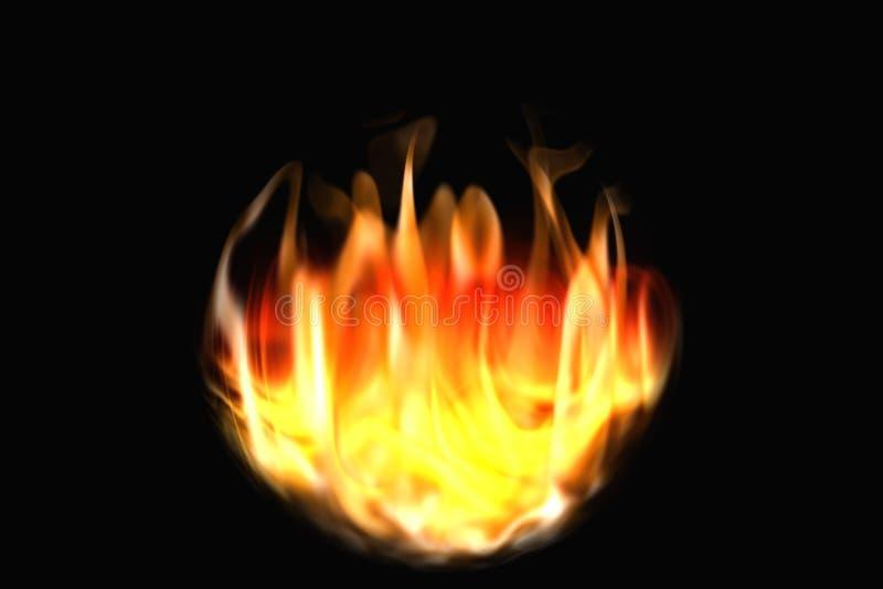 Le feu et flammes sur un fond noir rendu 3d illustration libre de droits