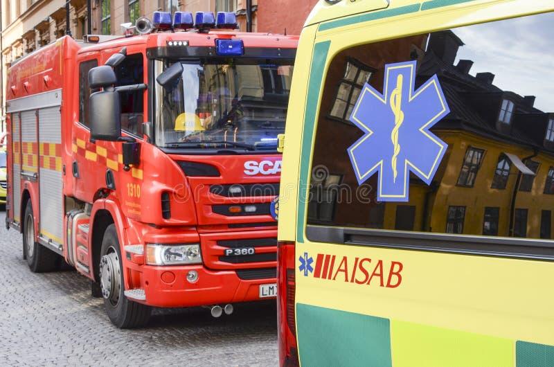 Le feu et services médicaux, Stockholm, Suède photographie stock