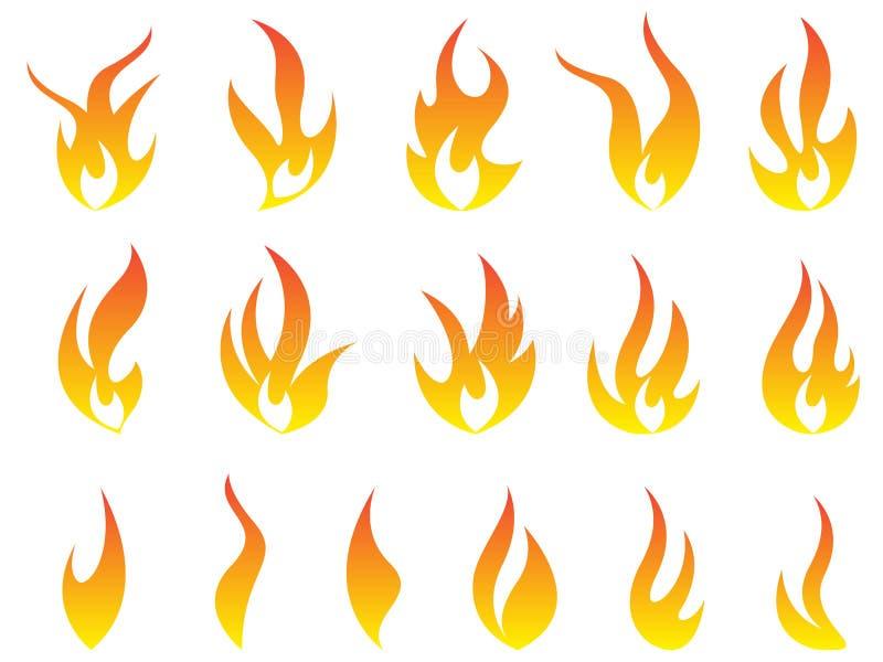 Le feu flambe la scénographie d'icône de vecteur de symbole de logo illustration de vecteur
