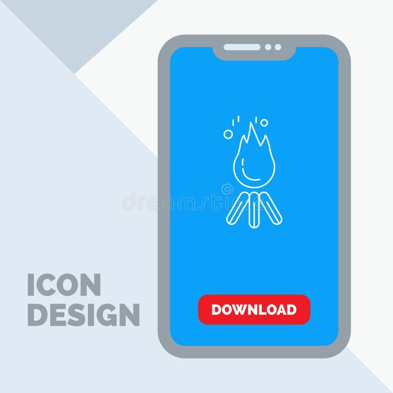 le feu, flamme, feu, camping, ligne icône de camp dans le mobile pour la page de téléchargement illustration libre de droits