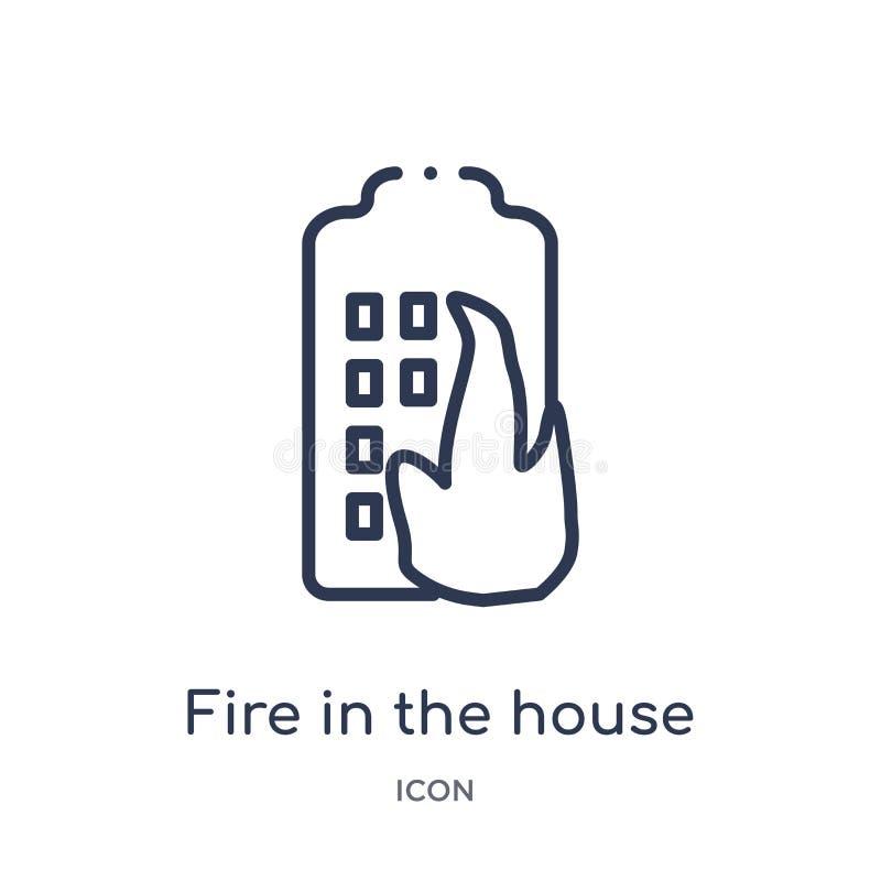 Le feu linéaire dans l'icône de maison de la collection d'ensemble de bâtiments Ligne mince le feu dans l'icône de maison d'isole illustration libre de droits