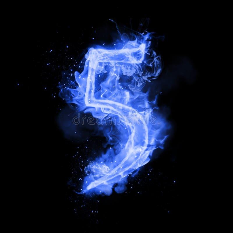 Le feu numéro 5 cinq de la flamme brûlante illustration stock