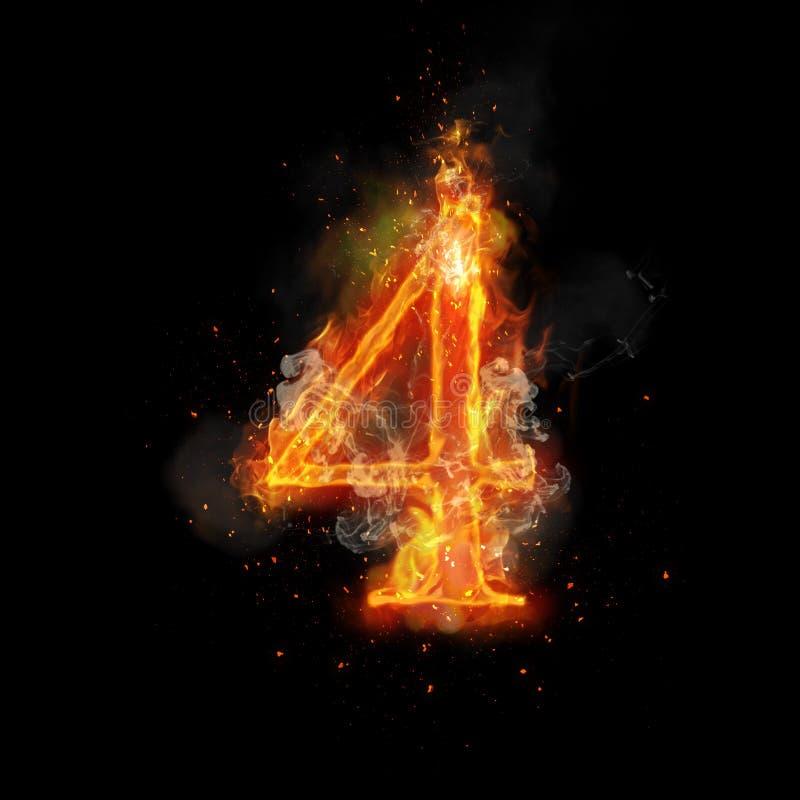 Le feu numéro 4 quatre de la flamme brûlante illustration stock