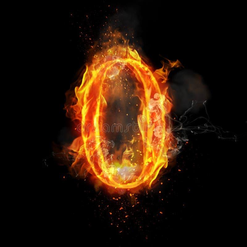 Le feu numéro 0 zéro de la flamme brûlante illustration de vecteur