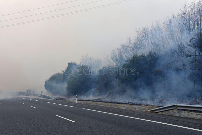 Le feu près de la ville galicienne de Verin, Espagne images libres de droits