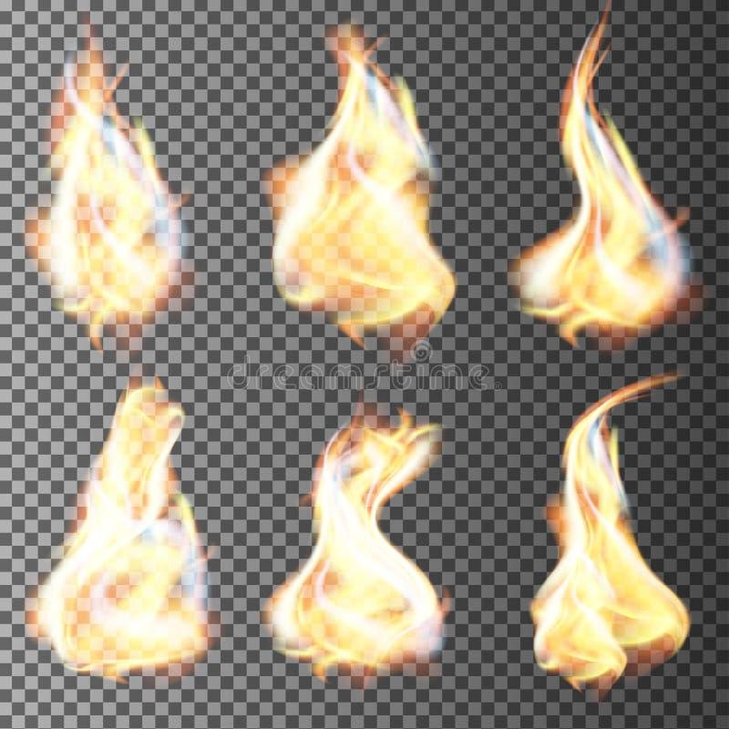 Le feu réaliste flambe le vecteur illustration libre de droits