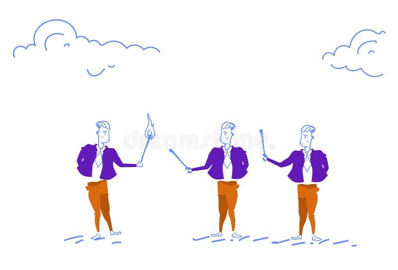 Le feu réglé d'homme d'affaires aux collègues tenant les hommes réussis d'affaires de bâton en bois brûlant de match team le conc illustration libre de droits