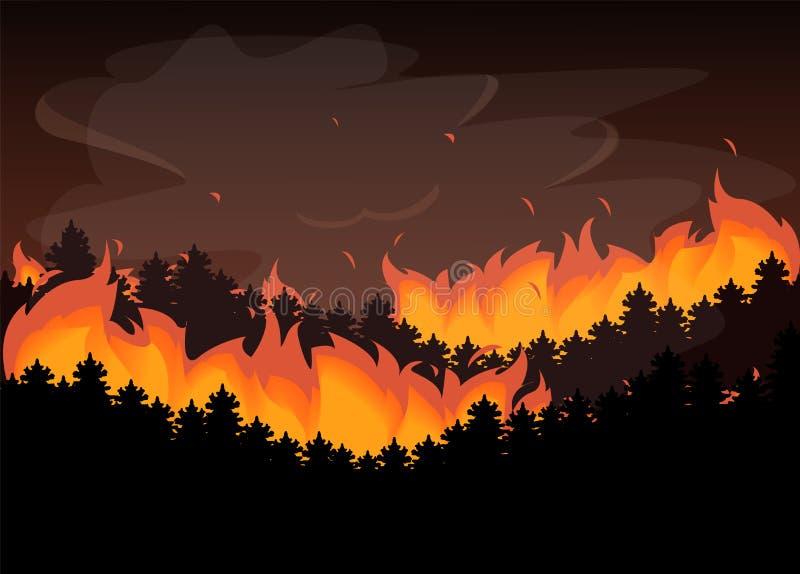 Le feu sauvage dans la catastrophe naturelle de forêt, flamme rouge illustration libre de droits