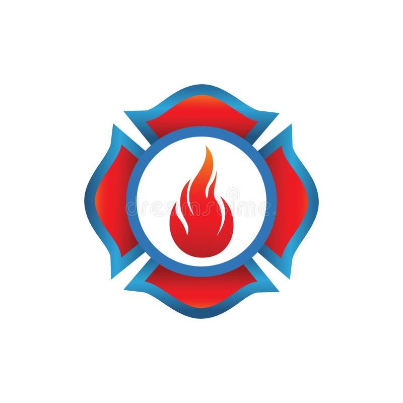 Le feu sur le vecteur de logo de bouclier illustration de vecteur